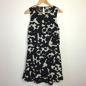 Banana Republic Black & Beige Ruffle Hem Dress
